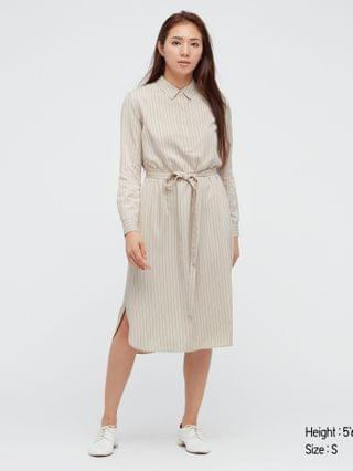 WOMEN rayon striped long-sleeve shirt dress