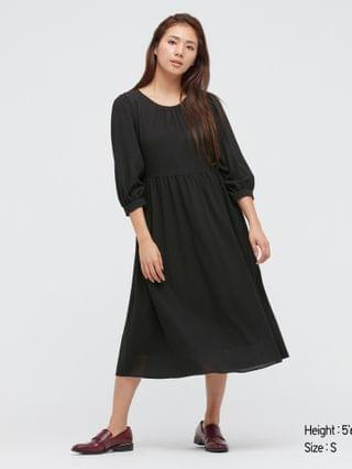 WOMEN rayon georgette 3/4-sleeve volume flare dress