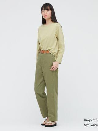 WOMEN high-waisted straight chino pants (online exclusive)