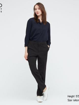 WOMEN smart 2-way stretch solid straight pants