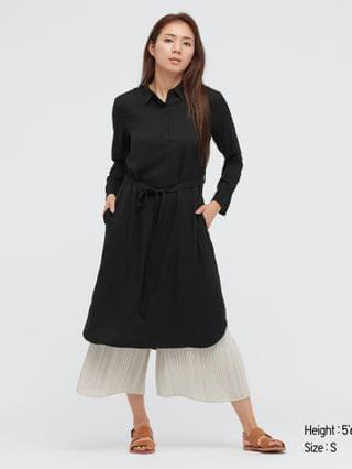 WOMEN rayon long-sleeve shirt dress