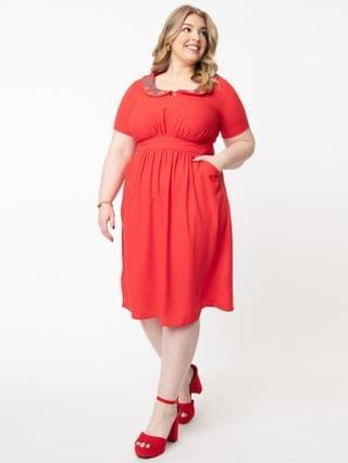 WOMEN Plus Size 1950s Red Embroidered Collar Mavis Dress