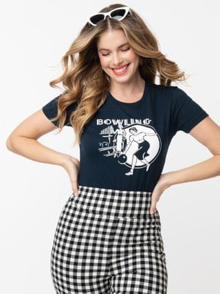 WOMEN Navy Blue Retro Bowling Fitted Graphic Tee