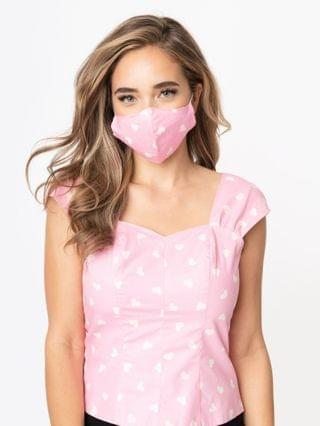 WOMEN Light Pink & White Hearts Print Face Mask
