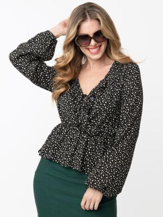 WOMEN Vintage Style Black & Taupe Spotted Print Peplum Blouse