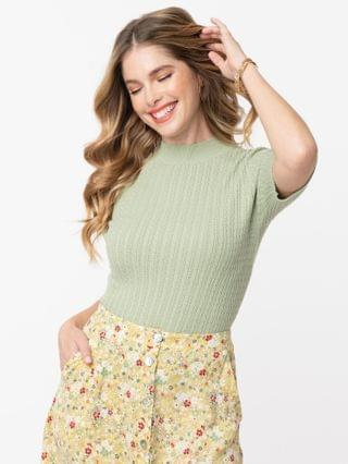WOMEN Retro Style Light Green Cable Knit Sweater Top