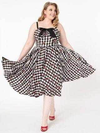 WOMEN Unique Vintage Plus Size 1950s Black Gingham & Strawberry Golightly Swing Dress