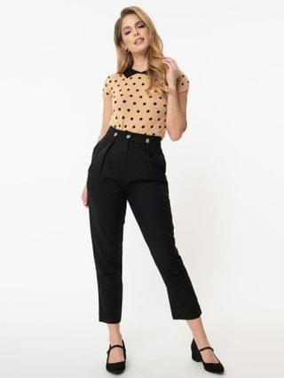 WOMEN Retro Style Black High Waist Cropped Pants