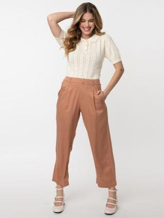 WOMEN Retro Style Brick Brown High Waist Pleated Pants