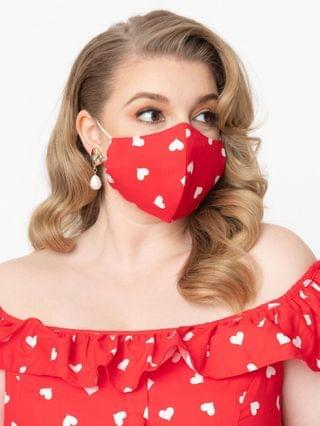 WOMEN Red & White Hearts Print Face Mask