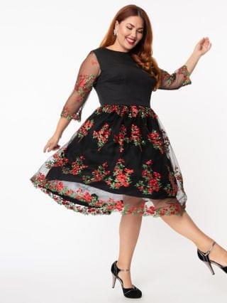 WOMEN Plus Size Black Mesh & Red Embroidered Florals Sleeved Audrey Swing Dress