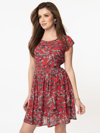 WOMEN Retro Style Red & Geometric Cat Print Fit & Flare Dress