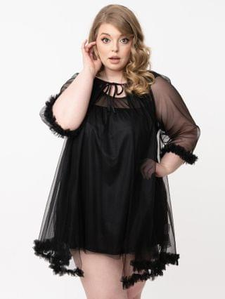 WOMEN Plus Size 1960s Style Black Pillow Talk Mini Nightgown Set