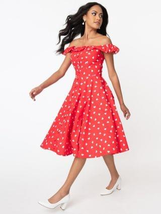 WOMEN Red & White Heart Print Barbara Swing Dress