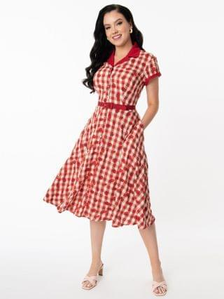 WOMEN Unique Vintage Red Gingham & Strawberry Print Alexis Swing Dress