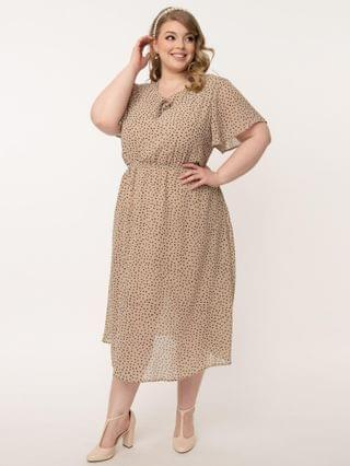 WOMEN Plus Size Vintage Style Beige & Black Dotted Midi Dress