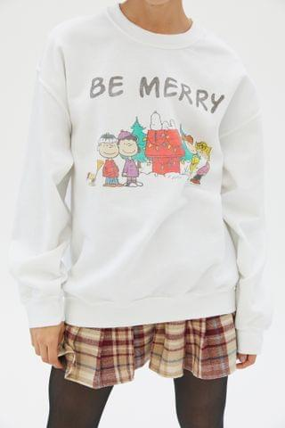 WOMEN Junk Food Peanuts Be Merry Sweatshirt