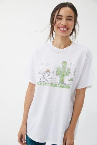 WOMEN Junk Food Happy Holidays Peanuts Tee