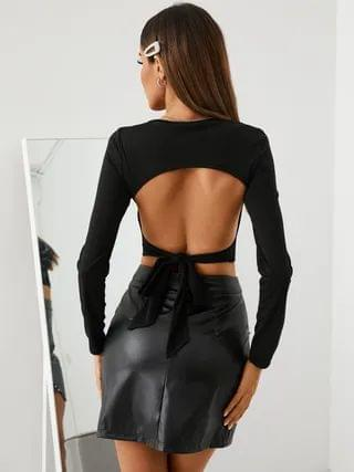 WOMEN YOINS Black Cut Out Backless Tie-up Design Crew Neck Long Sleeves Crop Top