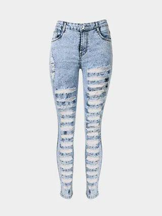 WOMEN Skinny Jeans In Snow Wash With Extreme Shredded Rips