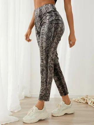 WOMEN YOINS Casual Snakeskin Middle-Waisted Pants