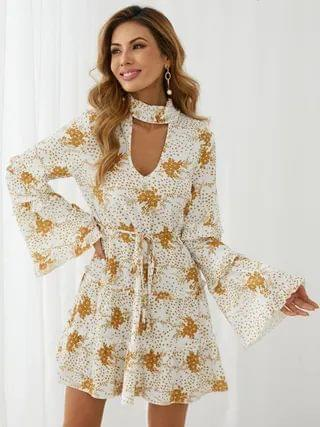 WOMEN YOINS Floral print Cut out Tiered design Bell sleeves Mini Dress