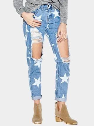 WOMEN Blue Ripped Details Star Middle-waisted Jeans