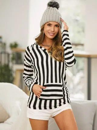 WOMEN Striped Pocket Design Long Sleeves Hoodie