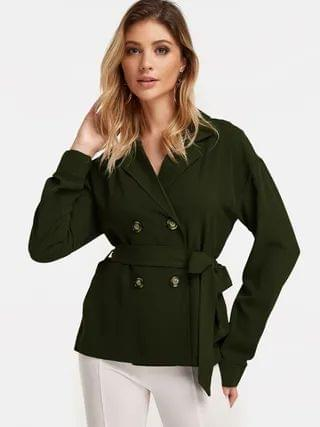 WOMEN Army Green Lapel Collar Fashion Winter Shirt