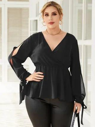 WOMEN YOINS Plus Size V-neck Wrap Design Slit Design Long Sleeves Blouse