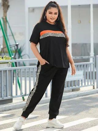 WOMEN YOINS Plus Size Crew Neck Patchwork Leopard Short Sleeves Two Piece Outfit