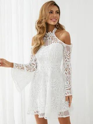 WOMEN YOINS Cold shoulder Hollow Design With Lining Bell Sleeves Mini Dress