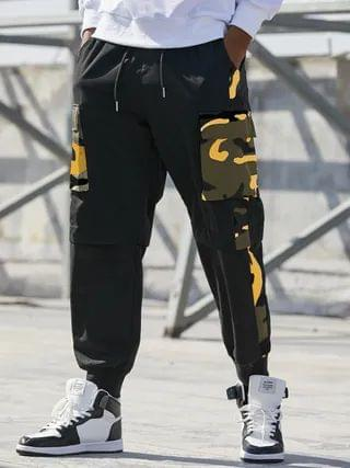 WOMEN KOYYE Men Punk Street Style Camo Patchwork Cargo Pants
