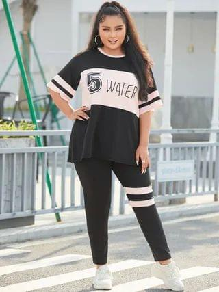 WOMEN YOINS Plus Size Striped Letter Figure Half Sleeves Two Piece Outfit