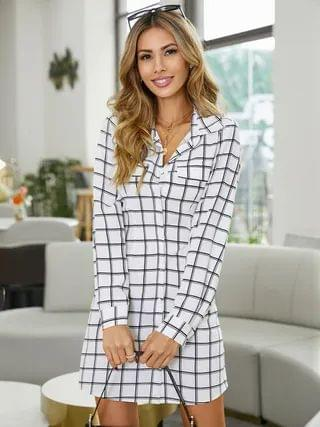 WOMEN YOINS Classic collar Plaid Pocket design Long sleeves Mini Dress