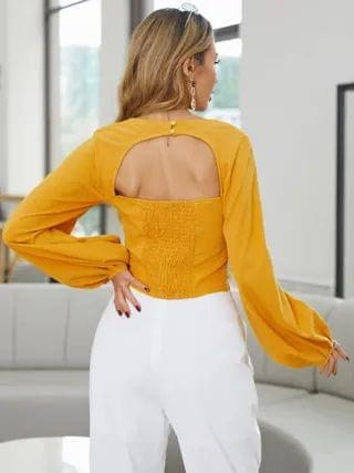 WOMEN YOINS Cut Out Backless Design Shirred Square Neck Lantern Sleeves Blouse