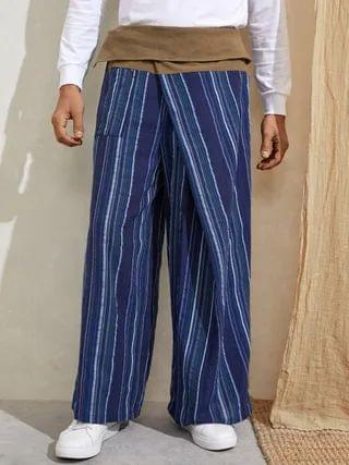 WOMEN Retro Striped Printed Knotted Loose Fit Straight Leg Causal Pants
