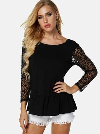 WOMEN Black Backless Design Lace Insert Design Round Neck Long Sleeves T-shirts