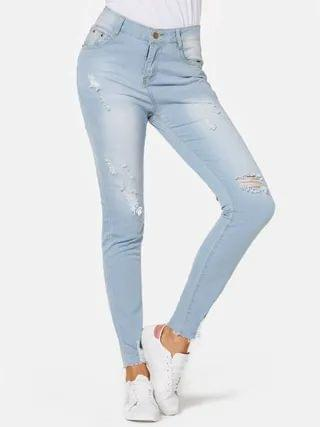 WOMEN Blue Ripped Details Middle Waist Jeans
