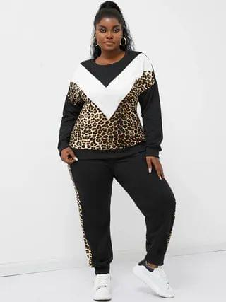 WOMEN YOINS Plus Size Crew Neck Patchwork Leopard Long Sleeves Two Piece Outfit