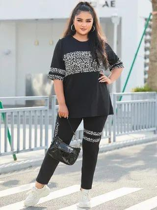 WOMEN YOINS Plus Size Leopard Striped Short Sleeves Two Piece Outfit