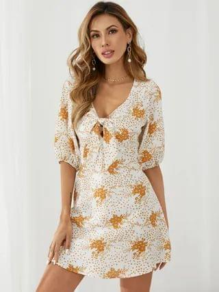WOMEN YOINS Floral print Tie-up design Half sleeves Mini Dress