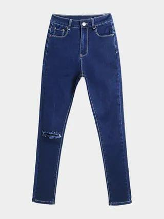 WOMEN Blue Skinny Jeans With Rips
