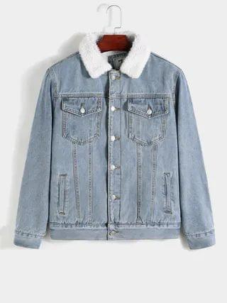 WOMEN KOYYE Men Fashion Solid Color Plus Velvet Warm Casual Denim Jacket