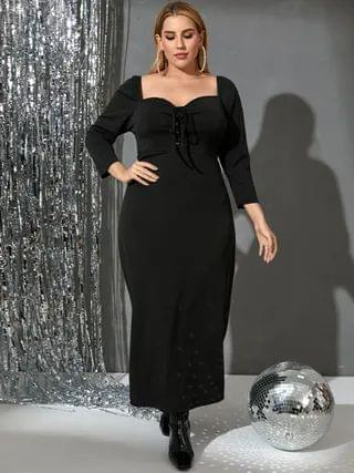 WOMEN Plus Size Lace-up Design Long Sleeves Maxi Dress