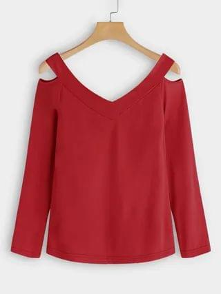 WOMEN Red Cut Out Design Plain V-neck Long Sleeves T-shirts