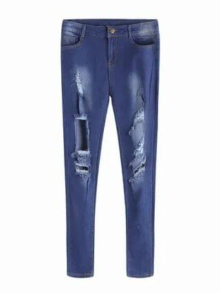 WOMEN Dark Blue Middle-waist Ripped Details Fashion Jeans