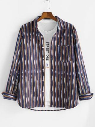MEN Striped Pattern Pocket Button Up Long Sleeve Shirt - Multi M