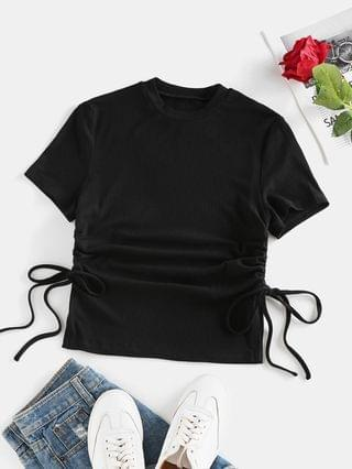WOMEN Ribbed Cinched Slit Fitted T Shirt - Black S