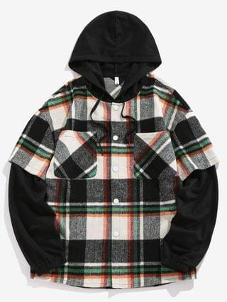 MEN Hooded Plaid Print Double Pockets Faux Twinset Shirt - Green M